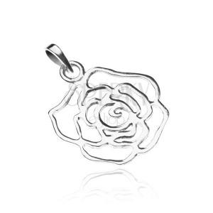 Stříbrný přívěsek 925 - lesklý obrys růže