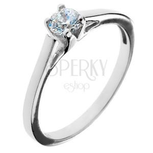 Zásnubní prsten ze stříbra 925 - kulatý zirkon v kalichu