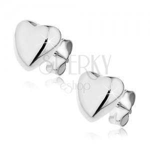 Puzetové náušnice ze stříbra 925 - vypouklé srdce, 7 mm