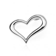 Stříbrný přívěsek 925 - zvlněné obrysové srdce, boční uchycení O14.13