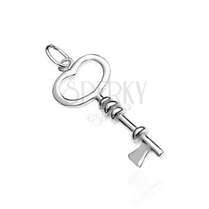 Přívěsek ze stříbra 925 - klíček, srdcová hlavička