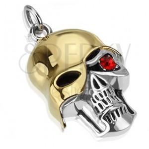 Oceľový prívesok - patinovaná lebka so zlatou prilbou, červený zirkón