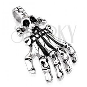 Ocelový přívěsek - ruka kostlivce s články v podobě lebek, patinovaný