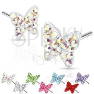 Ocelové náušnice - motýlci, barevné kameny, puzetka