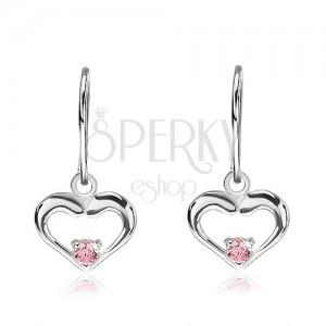 Stříbrné náušnice 925 - visící srdce s růžovým zirkonem uprostřed