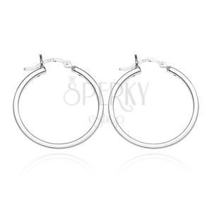 Náušnice kruhy ze stříbra 925 - čtyři lesklé hrany, 18 mm