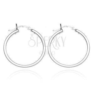 Náušnice kruhy ze stříbra 925 - čtyři lesklé hrany, 24 mm