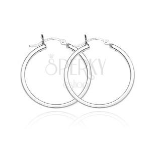 Stříbrné kruhové náušnice 925 - lesklý čtyřhranný obvod, 28 mm