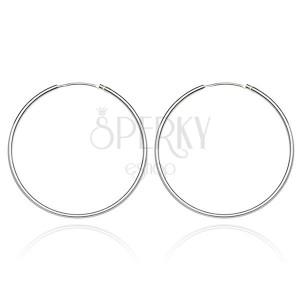 Stříbrné náušnice 925 - tenké, hladké kruhy, 22 mm