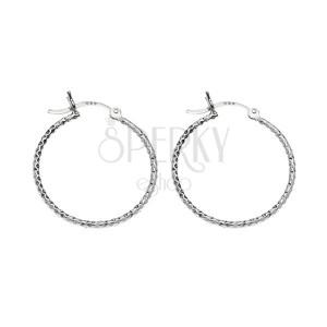 Kruhové stříbrné náušnice 925 - kosočtvercové prohlubinky, 17 mm