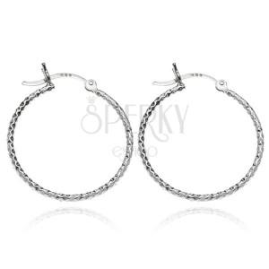 Stříbrné náušnice 925 kruhy - kosočtvercové gravírování, 25 mm