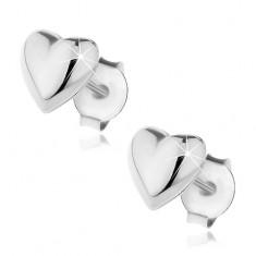 Stříbrné puzetové náušnice 925 - vypuklé hladké srdce Q15.4