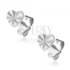 Náušnice ze stříbra 925 - lesklé srdce s louči