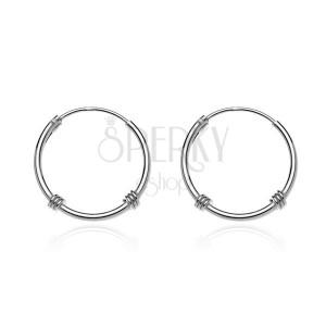 Kruhové náušnice ze stříbra 925 - lesklá linie, ovinuté lanko, 16 mm