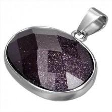 Přívěsek z chirurgické oceli fialový oválný polodrahokam