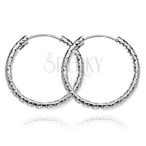 Stříbrné náušnice 925 - hrubé strukturované kruhy, 25 mm