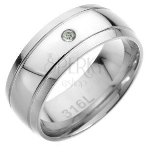 Ocelový prsten - dva rovnoběžné pásy, ve středu čirý zirkon