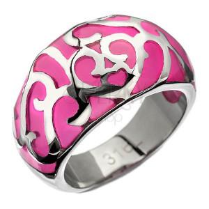 Prsten z oceli - růžový s kovovou dekorací, srdíčko