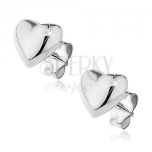 Puzetové náušnice ze stříbra 925 - vypuklé hladké srdce