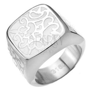 Pečatní ocelový prsten - bílý s kovovým zdobením
