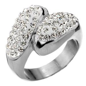 Ocelový prsten s bohatým zirkonovým zdobením