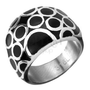 Prsten z chirurgické oceli - černý s kroužky