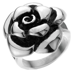 Ocelový prsten - mohutná růže