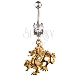 Piercing do pupíku - zlatý čínský drak