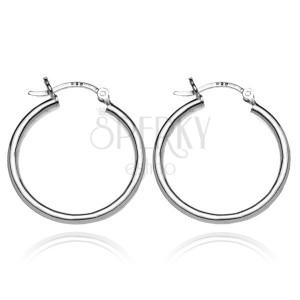 Stříbrné kruhové náušnice 925 - široké hladké kruhy, 25 mm
