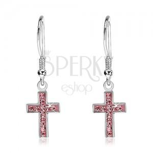 Visící náušnice ze stříbra 925 - křížek s růžovými zirkony