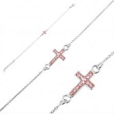 Stříbrný náramek 925 - křížek s růžovými zirkony