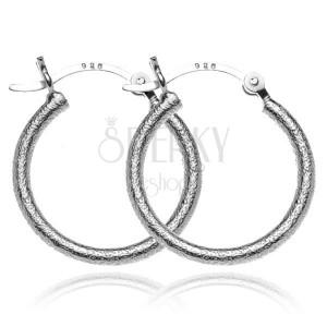 Náušnice ze stříbra 925 - matné strukturované kruhy, 20 mm