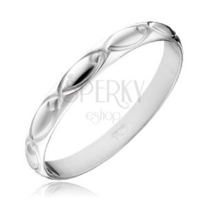Stříbrný prsten 925 - gravírované ovály po obvodu