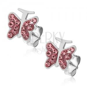 Stříbrné náušnice 925 - růžový motýlek se zirkony