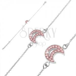 Řetízek na ruku ze stříbra 925 - měsíc s růžovými zirkony