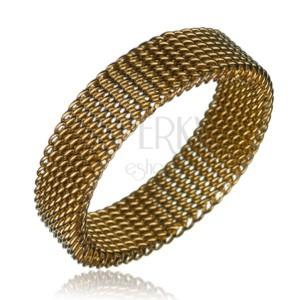 Ocelový prsten - řetízkový řemínek, zlatý, 6 mm