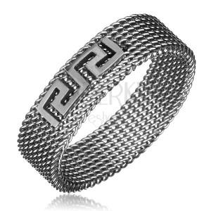 Prsten z oceli - řetízkový s řeckým klíčem, stříbrný, 6 mm