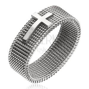 Prsten z oceli - řetízkový řemínek s křížem, stříbrný, 8 mm