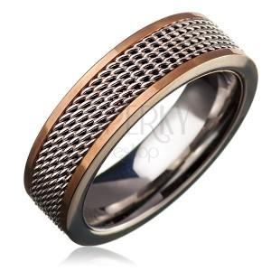Ocelový prsten - řetízkový středový pás, zlatý lem