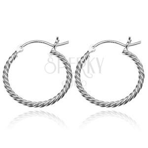 Stříbrné náušnice 925 - kruhy ve tvaru lana, 20 mm