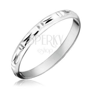 Stříbrný prsten 925 - dvojité svislé a vodorovné zářezy