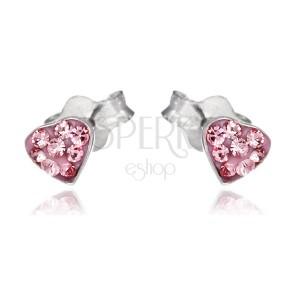 Stříbrné puzetky 925 - růžové srdce se zirkony