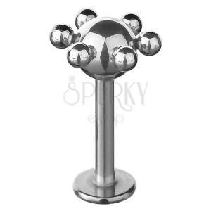 Ocelový labret - kulička s menšími kuličkami po obvodu