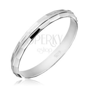 Prsten ze stříbra 925 - zkosené lesklé okraje