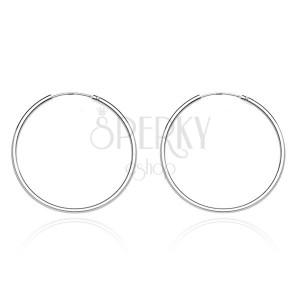Kruhové náušnice ze stříbra 925 - úzký, hladký design, 20 mm