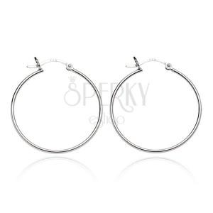 Stříbrné náušnice 925 - lesklé kruhy s vlnkou, 18 mm