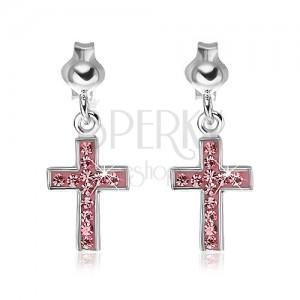 Puzetky ze stříbra 925 - visící růžový kříž se zirkony