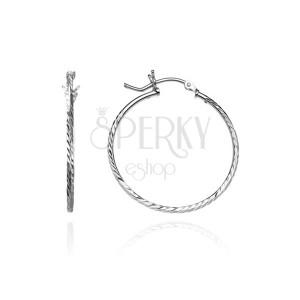 Náušnice, kruhy ze stříbra 925 - hranatá linie se zrníčky, 25 mm