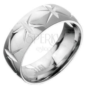 Ocelový prsten - obruč s křížovými zářezy
