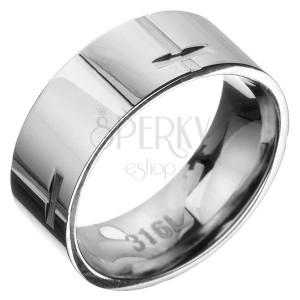 Ocelový prsten - obruč s křížovým vzorem